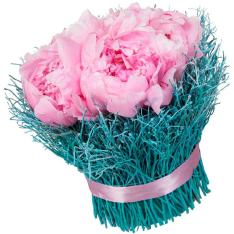 Композиция из 9 розовых пионов в деревянной упаковке фото