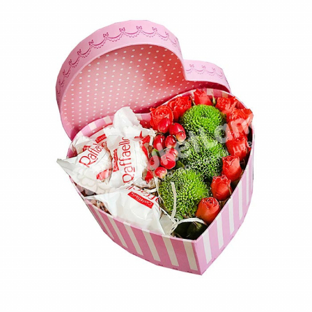 Box with flowers and candy in the form of heart 3 photo