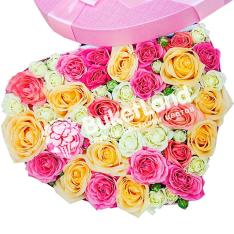 Коробка с цветами в виде сердца 2 | размер L фото