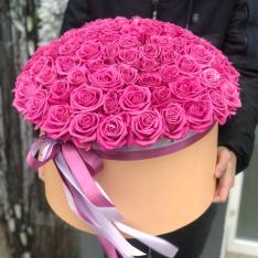 101 розовая роза в шляпной коробке фото