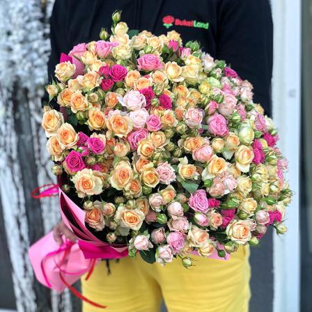 51 кустовая роза микс (4 цвета) фото