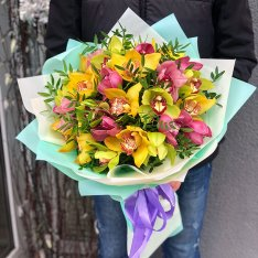 Букет из 25 орхидей микс фото