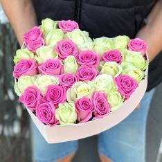 Сердце с розами микс «Искушение»   фото