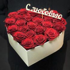 Сердце с красными розами «Геометрия любви» фото