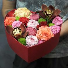 Сердце с цветами и зефиром «Шармель» фото