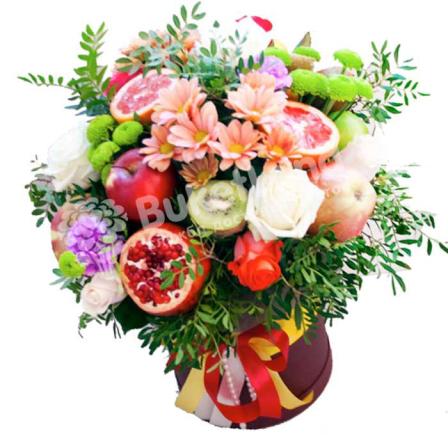 Шляпная коробка с цветами и фруктами «Фантазия» | размер XL