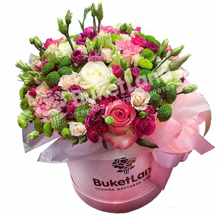 Цветы в шляпной коробке «Мелодия счастья»