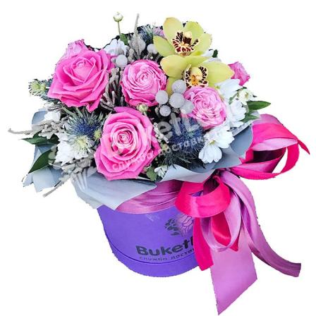Цветы в шляпной коробке «Очарование» фото