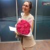 21 розовая роза Аква 60 см фото