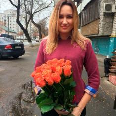 19 оранжевых роз Вау 60 см фото