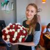 51 роза микс «красно-белая» 60 см фото