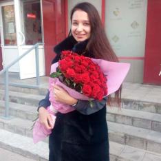 51 красная роза 80 см фото