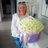 101 белая роза в шляпной коробке фото