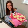 51 роза микс «розово-белая» 60 см фото