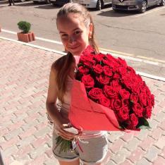 61 красная роза Гран При 60 см фото
