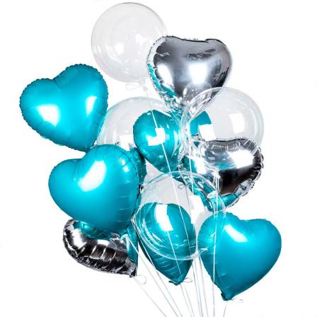 11 гелиевых шариков микс «круглые и сердечко» фото
