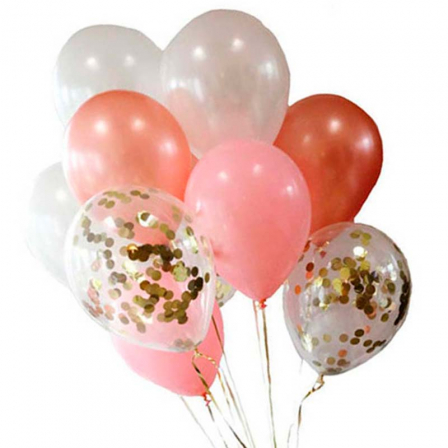 11 helium balloons mix with confetti photo