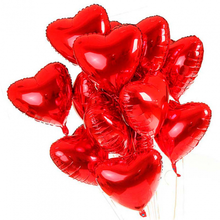 15 фольгированных гелиевых шарика «сердце» фото