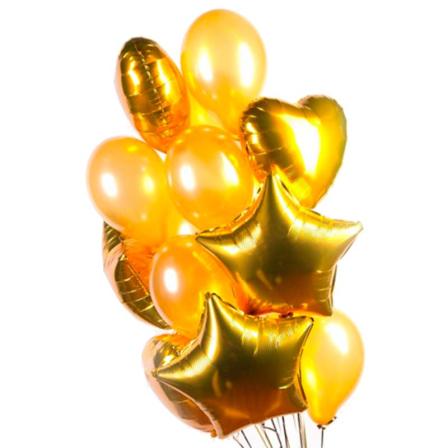 15 гелиевых и фольгированных шариков микс фото