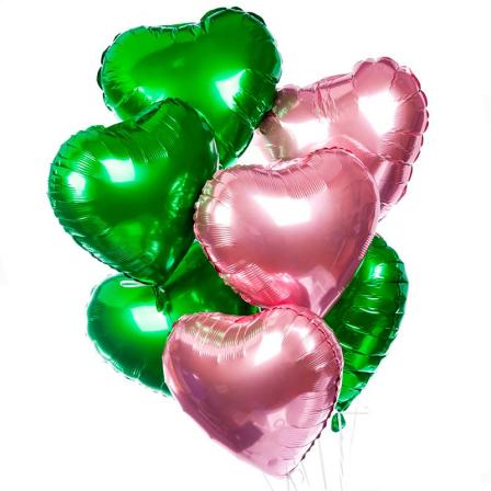 7 фольгированных гелиевых сердец микс фото