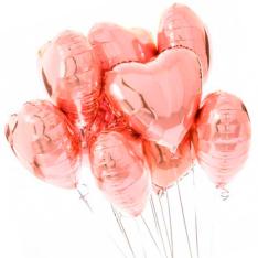 7 фольгованих гелієвих кульок «серце» фото