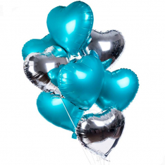 9 фольгированных гелиевых сердец микс фото