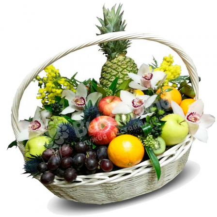"Fruit basket ""Exotic Flowers"" photo"