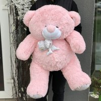 Мягкая игрушка «Мишка Зефир» 100 см (розовый) фото