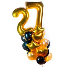 Набор гелиевых шариков микс с двумя цифрами фото