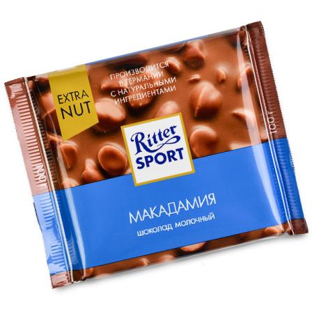 Шоколад молочный Ritter Sport с орехом макадамия 100г фото