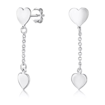 Серебряные сережки подвески «Сердечки» без вставки фото
