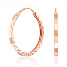 Золотые серьги-конго с алмазной гранью фото