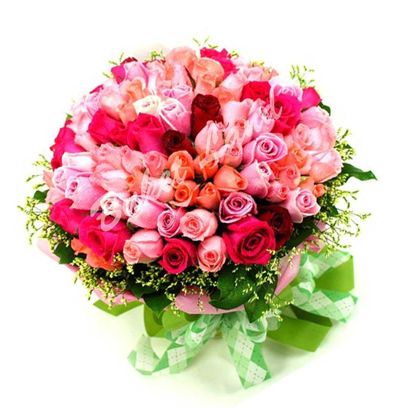101 роза микс 60 см