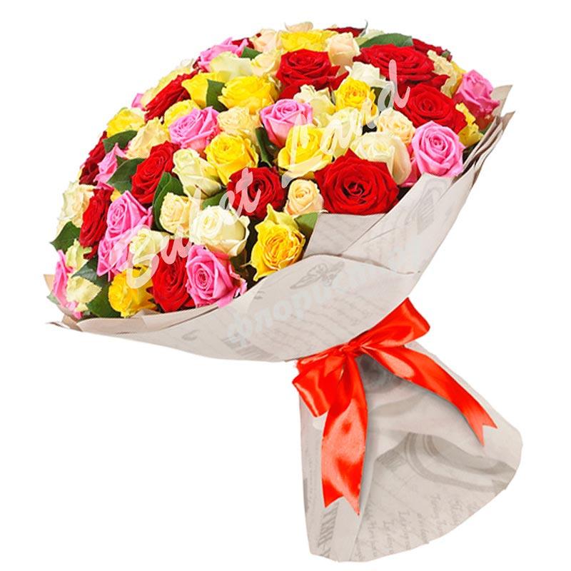 101 роза микс 7 60 cм