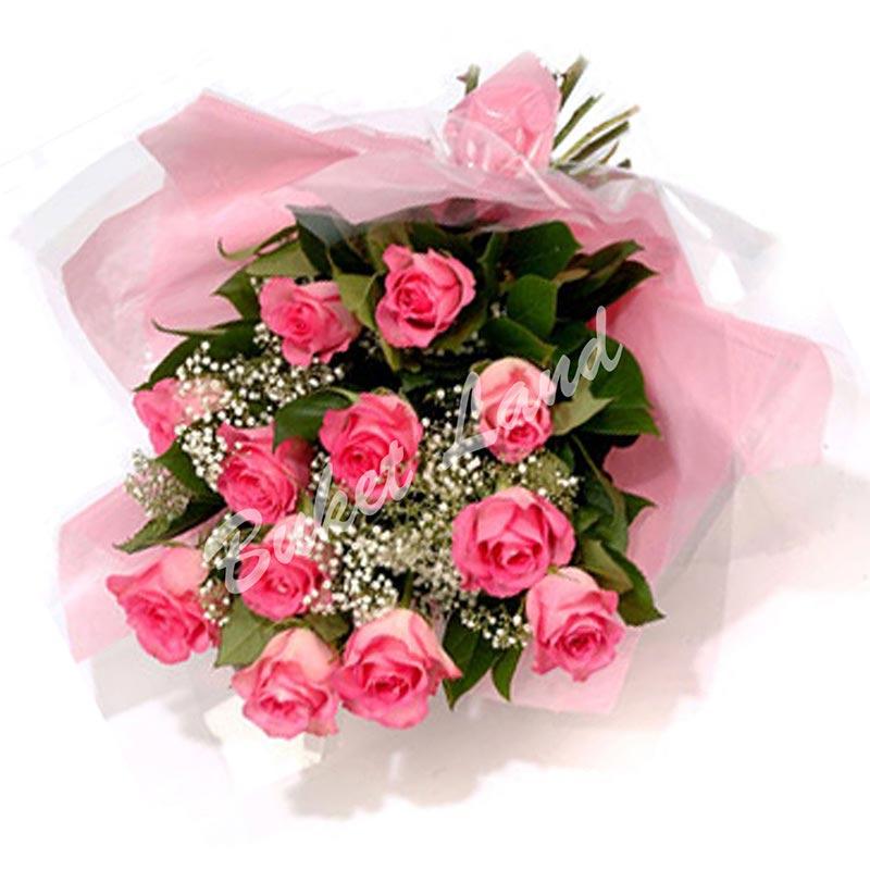 11 розовых роз Аква 60 см
