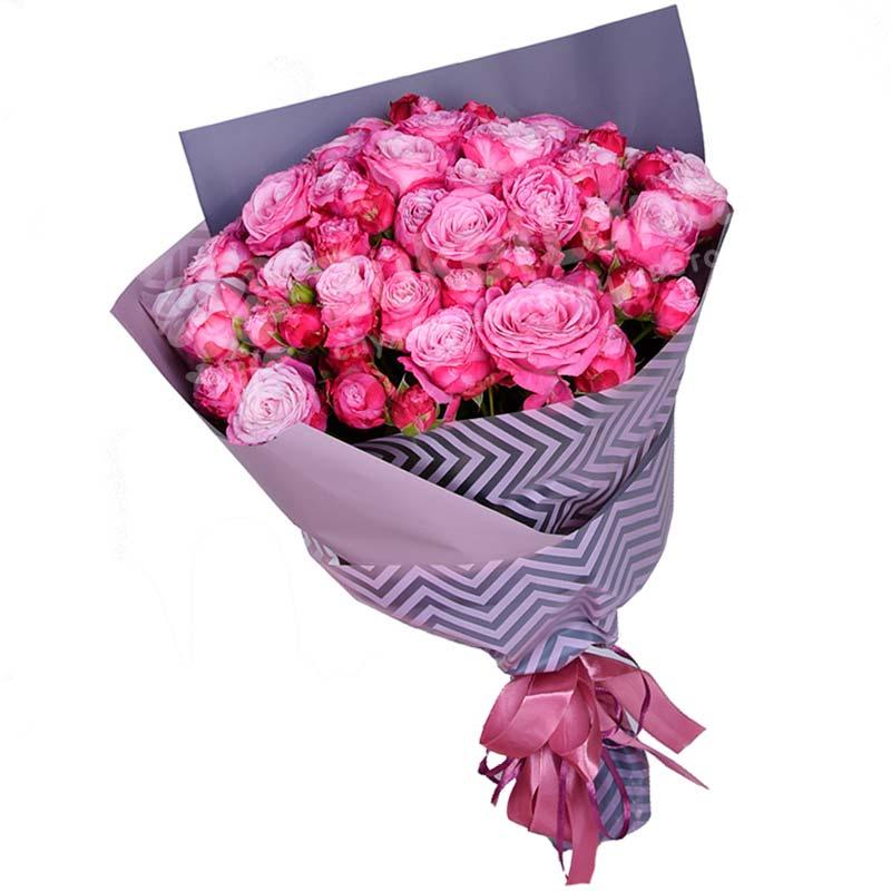 15 кустовых розовых роз