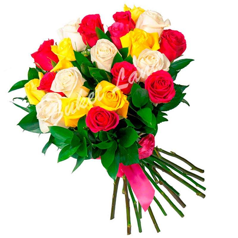 19 роз микс «красно-желто-белая» 60 см
