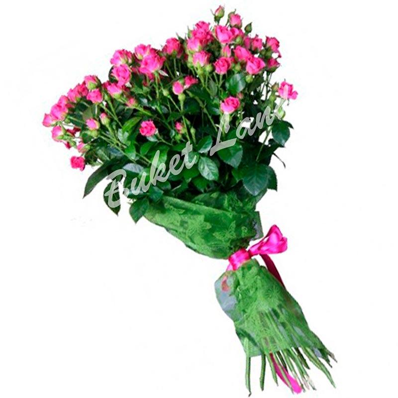19 розовых роз спрей 60 см