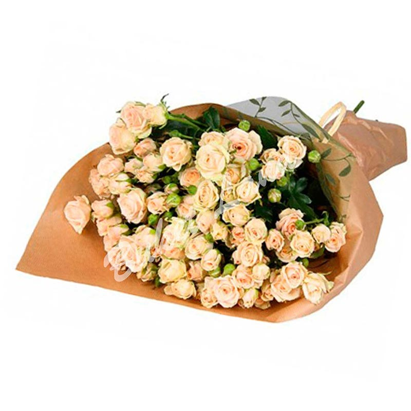 19 веточек бежевой розы спрей 60 см