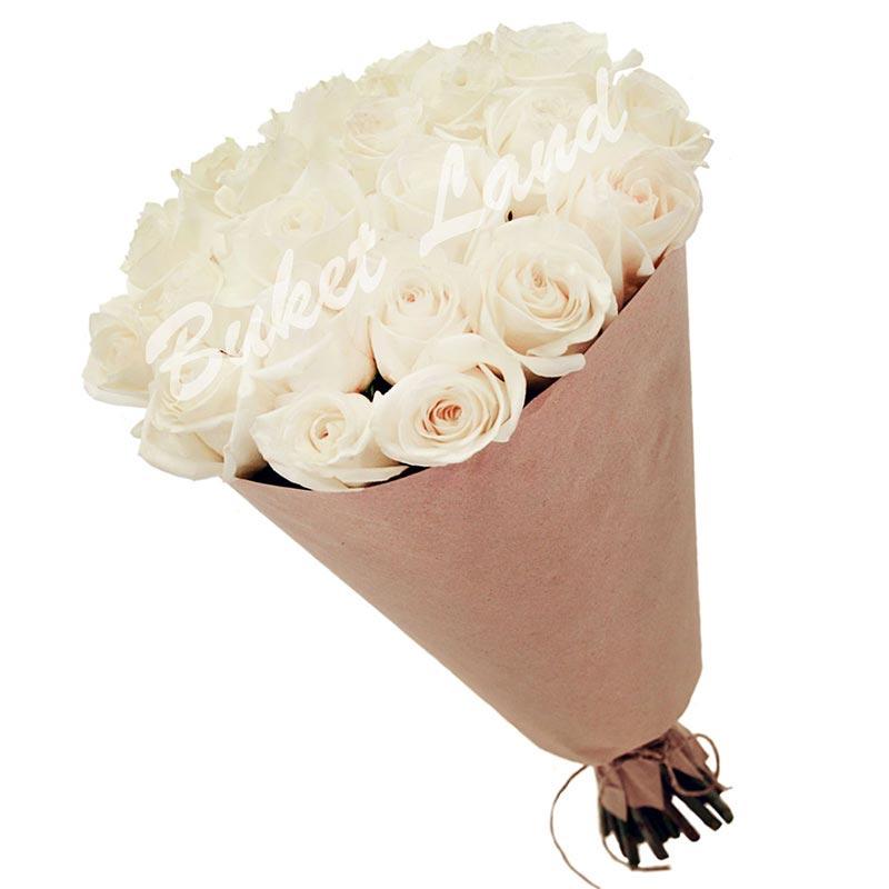 21 белая роза Аваланч 60 см