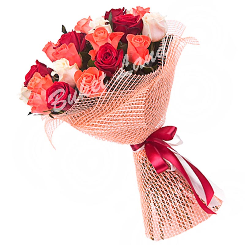 21 роза микс «красно-бело-оранжевая» 60 см