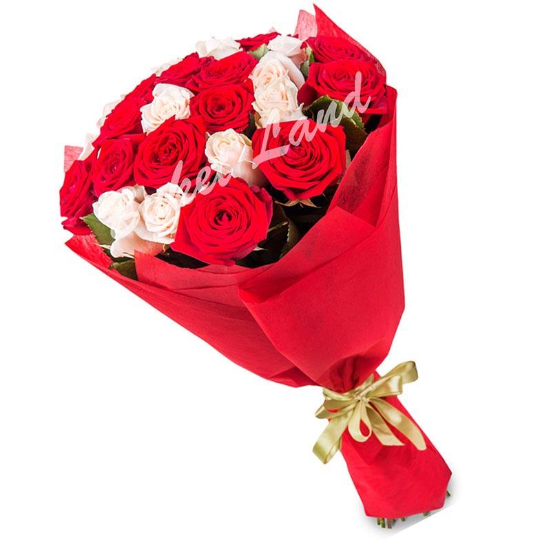 25 роз микс «красно-белая» 60 см