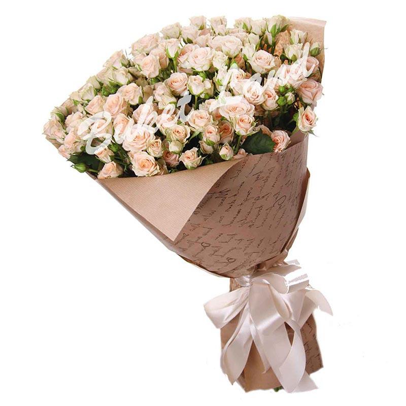 29 белых(бежевых) роз спрей 60 см