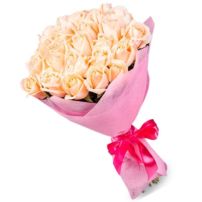 29 бежевых роз Талея 60 см