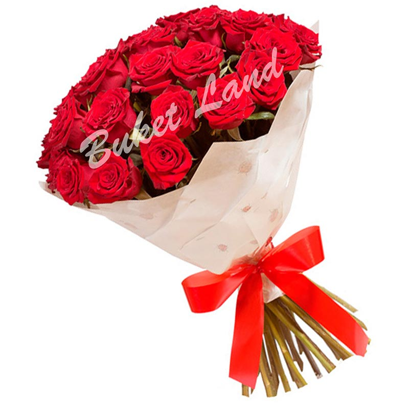29 красных роз Гран При 60 см
