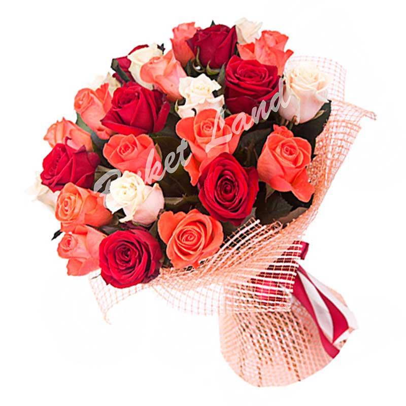 29 роз микс «красно-бело-оранжевая» 60 см