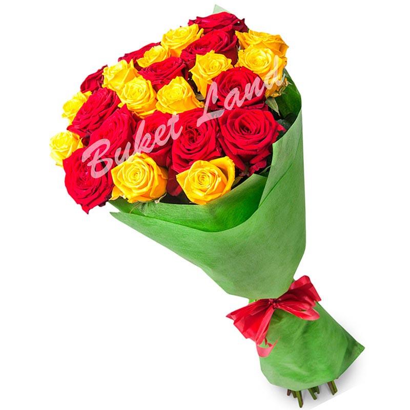 29 роз микс «красно-желтая» 60 см