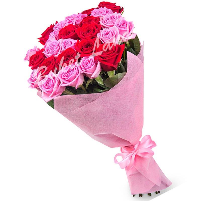 29 роз микс «розово-красная» 60 см