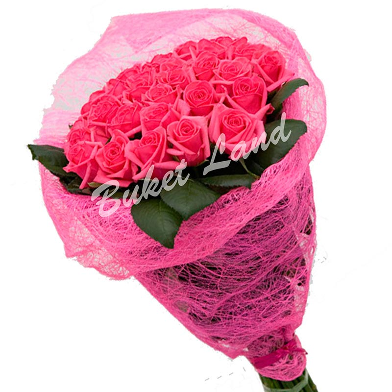 29 розовых роз Аква 60 см
