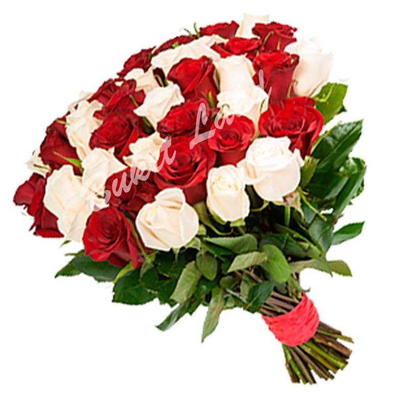 31 роза микс «бело-красная» 60 см
